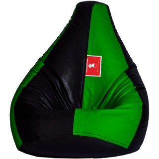Comfy Bean Bag BLACK GREEN L SIZE Without Fillers - Cover Only