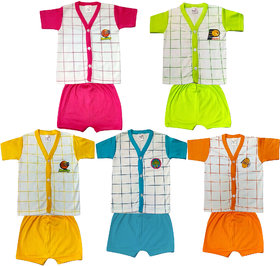 Heart Beat Pack of 10 Infants Half Sleeve Cotton Multicolor 5 T-shirt and 5 Shorts Combo