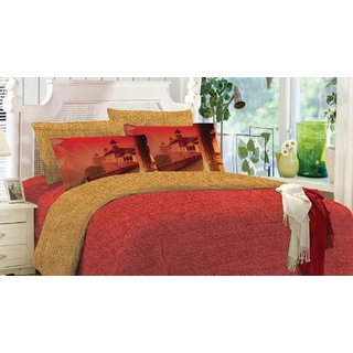 Blush Kaleidoscope Double Bedsheet with 2 Pillow Cover
