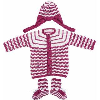 Maple Krafts 100% Wool Hand-knitted Sweater Cap and Pair of socks Baby Boys Girls Full Sleeve Purple White