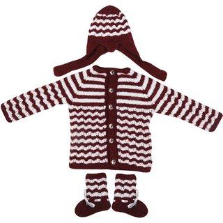 Maple Krafts 100% Wool Hand-knitted Sweater Cap and Pair of socks Baby Boys Girls Full Sleeve Maroon White