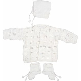 1a08a86ba Maple Krafts 100% Wool Hand-knitted Sweater Cap and Pair of socks Baby Boys  Girls Full Sleeve White