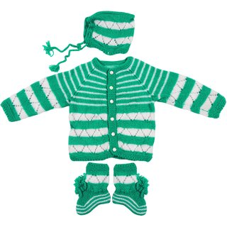 Maple Krafts 100% Wool Hand-knitted Sweater Cap and Pair of socks Baby Boys Girls Full Sleeve Green White