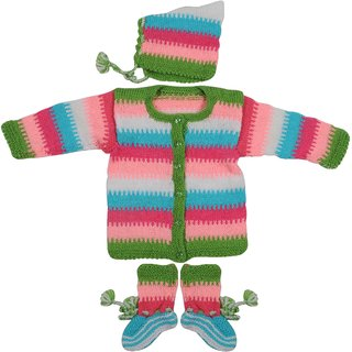 Maple Krafts 100% Wool Hand-knitted Sweater Cap and Pair of socks Baby Boys Girls Full Sleeve Multicolor