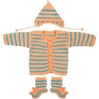 Maple Krafts 100% Wool Hand-knitted Sweater Cap and Pair of socks Baby Boys Girls Full Sleeve Peach Sky Blue