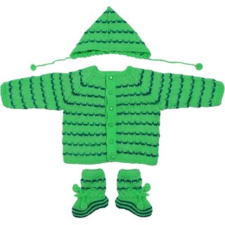 Maple Krafts 100% Wool Hand-knitted Sweater Cap and Pair of socks Baby Boys Girls Full Sleeve Leaf Green Dark Green