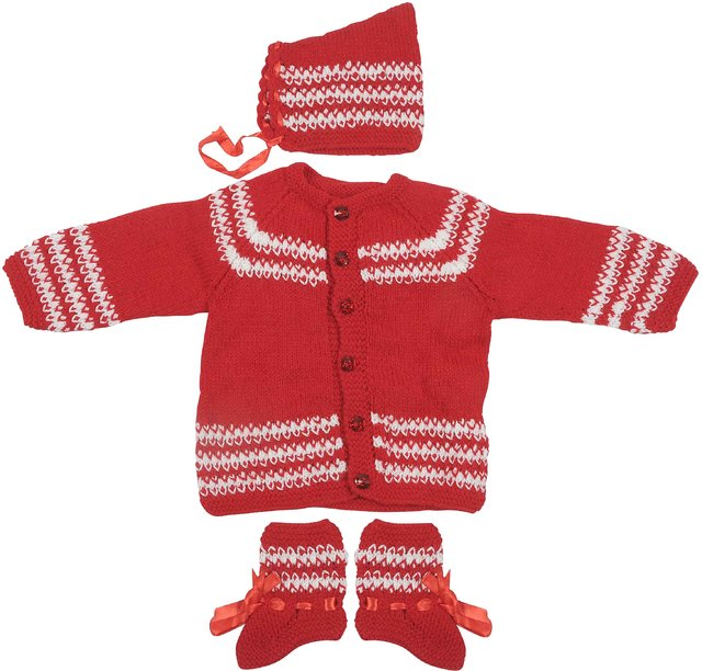 Maple Krafts 100% Wool Hand knitted Sweater Cap and Pair of socks Baby Boys Girls Full Sleeve Tomoto Red White