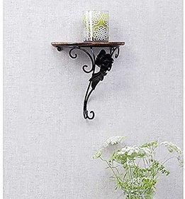 Shilpi Wooden Wrought Iron Decorative Wall Shelf / Amazing Wall Bracket