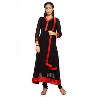 Designersareez Black chiffon semi stitched anarkali salwar suit with dupatta (20050)