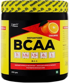 Healthvit Fitness BCAA 6000, 200g Powder (Tangy Orange) Pre/Post Workout Supplement