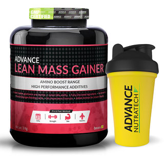 Advance Nutratech Lean Mass Gainer 3Kg (6.6Lbs) Banana Sugar-Free With Odourfree Spillproof Whey Protein Shaker 600Ml