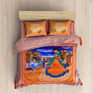 Jaipuri Double Bedsheet with 2 pillow cover