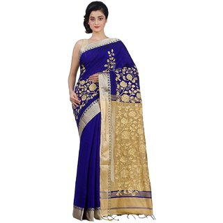 Le Soft Handloom Worked Cotton-Silk Women's Saree with Blouse Piece (Blue and Beige)