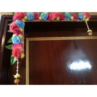 L- Shape Multicolor Floral Designer Bandarwal/ toran