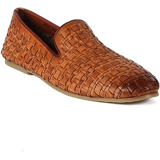 Valentino Men's Tan Original Leather Woven Casual Loafers
