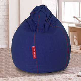 Hinto Organic cotton XXXL Khadi Bean bag cover without beans by Urbanloom (Colour - Royal Blue)