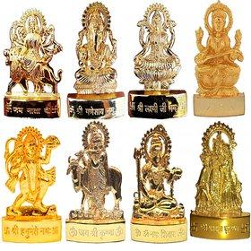 Gold Plated Ganesh Laxmi Durga Saraswati Hanuman Shiv Radha Krishna Gai Krishna - Combo of 8 Pcs