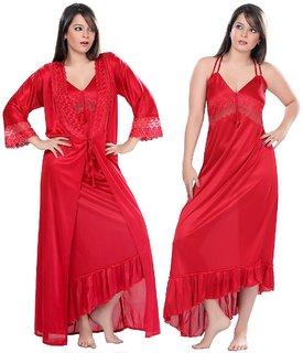Boosah Red Satin Nighty and Robe Set