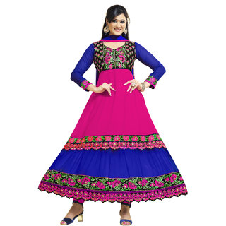 Florence Pretty Embrodried Pink And Blue Anarkali Dress Material (SB-1318)