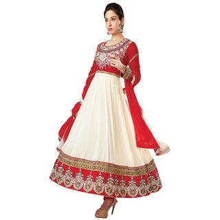Florence Pretty Embrodried White And Red Anarkali Dress Material (SB-1342)