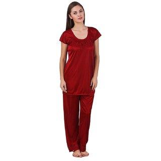e3cdf1ac011 Buy Boosah Women s Maroon Satin 1 Night Suit Online - Get 52% Off
