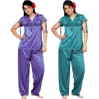 ddcadd7194 Buy Boosah Women s Purple   Light Blue Satin 2 Night Suit Online ...