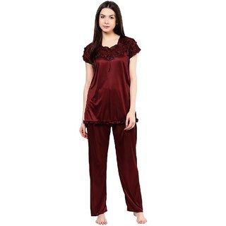 Boosah Women's Brown Satin 1 Night Suit