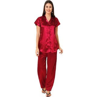 Boosah Women's Maroon Satin 1 Night Suit