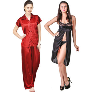 be2a9306f34 Boosah Multicolour Satin Nightwear Set - Pack of 2