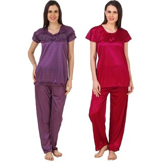 5c4c9f796e0 Buy Boosah Women s Purple   Maroon Satin 2 Night Suit Online - Get 58% Off