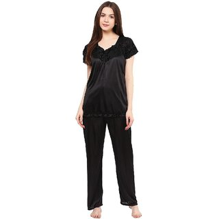 Boosah Women's Black Satin 1 Night Suit