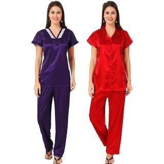 8328dbc7a6 Buy Boosah Women's Purple & Red Satin 2 Night Suit Online - Get 58% Off