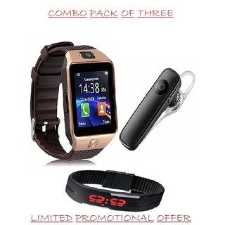 SMART bluetooth watch with free wireless bluetooth headset +LED digital  watch