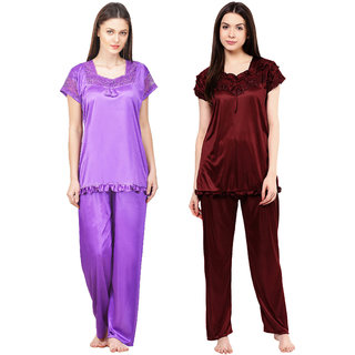 Boosah Multicolour Satin Nightsuit - Pack of 2