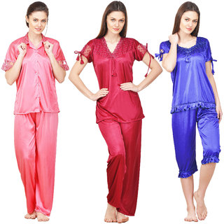 Boosah Women's Multicolour Satin Nighsuit Set - Pack of 3
