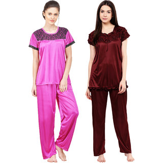 Boosah Multicolour Satin Nightsuit - Pack of 2