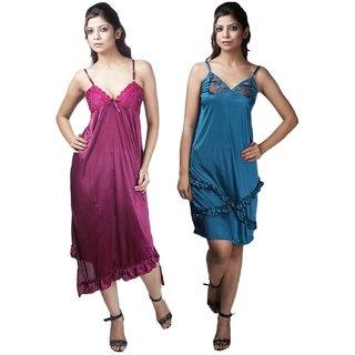 Boosah Multicolour Satin Babydoll Dress - Pack of 2