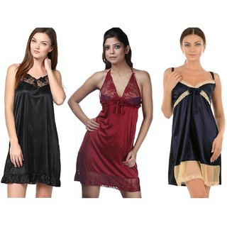 Boosah Multicolour Satin Night Dress - Pack of 3