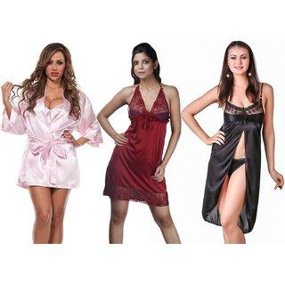Boosah Multicolour Satin Night Dress - Pack of 3