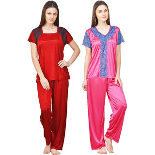 Boosah Multicolour Satin Nightsuit Set - Pack of 2