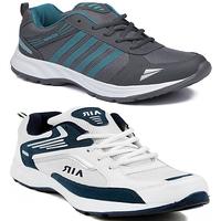 Clymb Asean Firozi + Air White Blue Sports Running Shoe