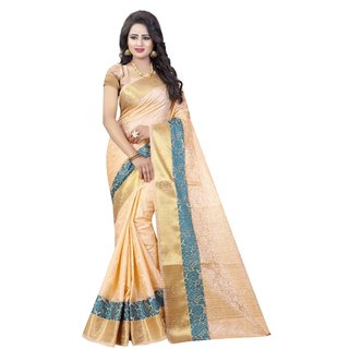 Meia Beige Cotton Self Design Saree With Blouse