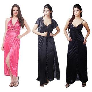 Boosah Multicolour Satin Night Dress - Pack of 5
