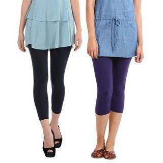 Amoya Plain Cotton Lycra Leggings For Women