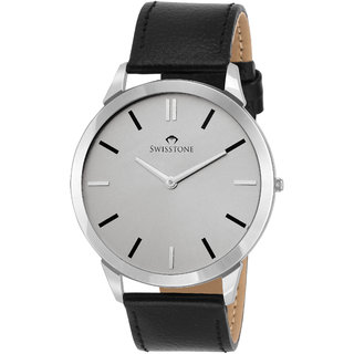 Swisstone SLIM111-SILVER Ultra Slim Black leather strap analog wrist watch for Men/Boys