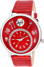 Swisstone VOGLR321-Red Dial Black Leather Strap Analog