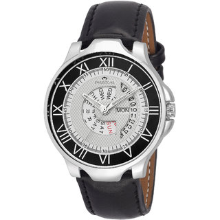 SWISSTONE WHT099 Black Leather Strap Day and Date Display Wrist Watch for Men/Boys