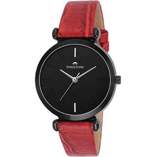 Swisstone CK312 Red Leather Strap Wrist Watch for Women