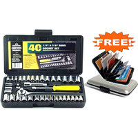 40 Pcs Combination Socket Toolkit With Free Aluminum Credit Card Holder
