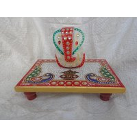 "Beautiful Hand Painted Lord Ganesh With Chowki In White Marble In 6"" X 4"" Size"